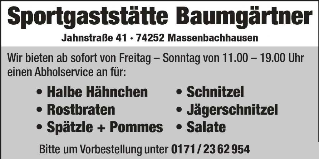 Abholservice Massenbachhausen Sportheim Baumgärtner